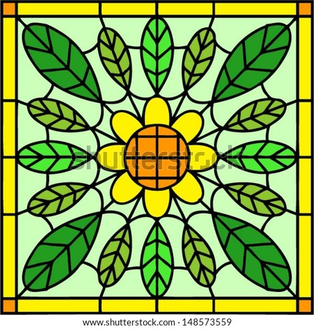 Yellow flower with green leaves in stained glass window or tile style with frame, vector illustration - stock vector