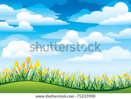 Yellow flowers and green grass on a blue sky and clouds - stock vector