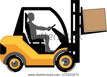 Yellow forklift vector eps - stock vector