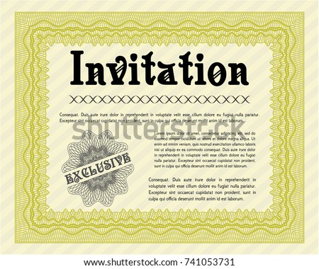 Yellow formal invitation background lovely design stock vector yellow formal invitation with background lovely design vector illustration stopboris Choice Image