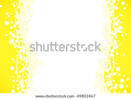 yellow frame background with flowers - stock vector