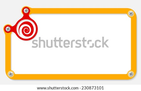 yellow frame for text with screws and spiral - stock vector