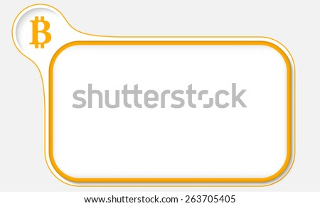 yellow frame for your text and bit coin symbol - stock vector