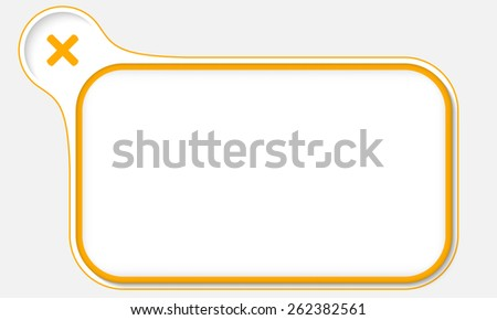 yellow frame for your text and multiplication symbol - stock vector