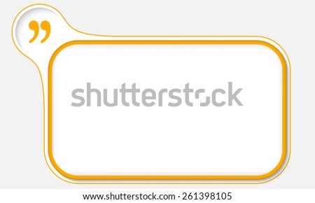 yellow frame for your text and quotation mark - stock vector