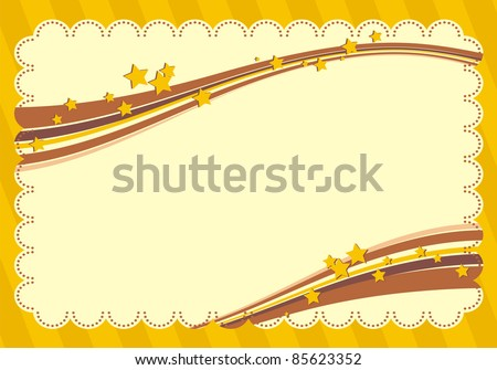 Yellow frame with stars - stock vector
