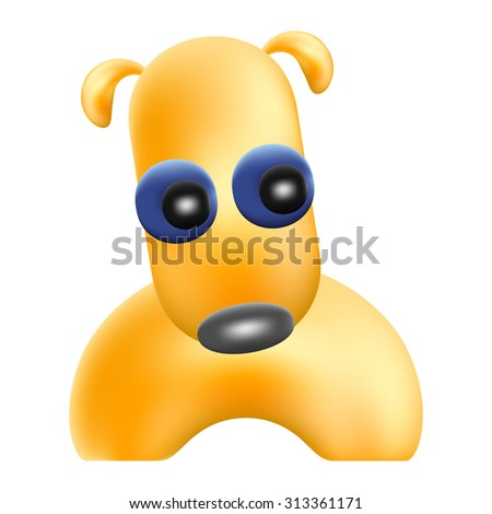 yellow funny dog character isolated mesh vector illustration
