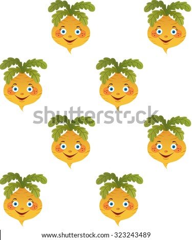 Yellow funny turnip pattern isolated on white background. Seamless background with cartoon smile turnips. Vector texture for textile,wallpaper,web page background, surface textures. Comic character. - stock vector