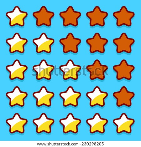 Yellow game rating stars icons buttons