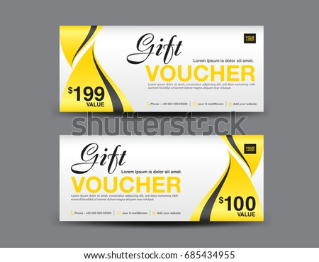 Yellow Gift Voucher Template Layout, Business Flyer Design, Abstract  Background, Coupon, Ticket  Business Voucher Template