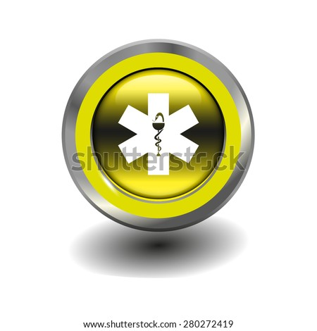 Yellow glossy button with metallic elements and white icon ambulance, vector design for website - stock vector