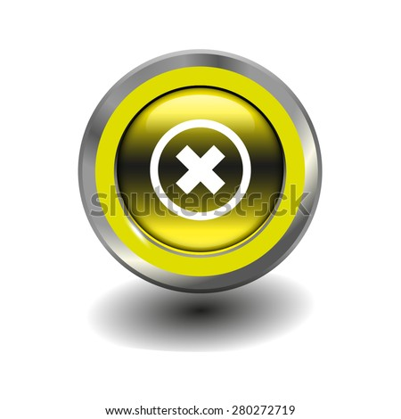 Yellow glossy button with metallic elements and white icon delete, vector design for website - stock vector