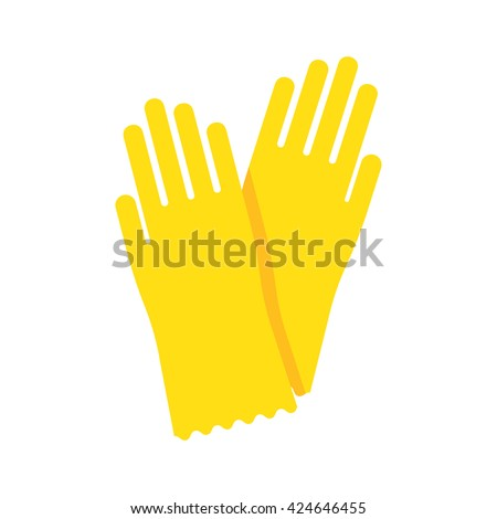 Yellow glove for hygiene cleaning and yellow rubber glove wash work protection. Rubber yellow gloves cartoon flat icon vector illustration. - stock vector