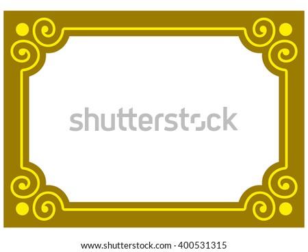 Yellow gold border frame deco vector art simple line corner - stock vector
