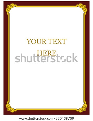 Yellow gold red border frame deco vector art simple line corner - stock vector