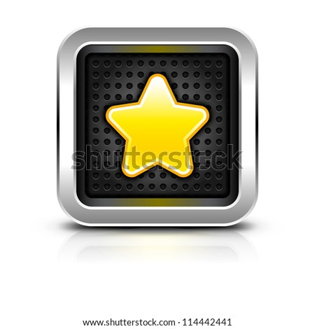 Yellow gold star icon chrome metal frame button dark perforation texture glossy sign black drop shadow color reflection white background. Vector illustration clip-art design element saved in 10 eps - stock vector