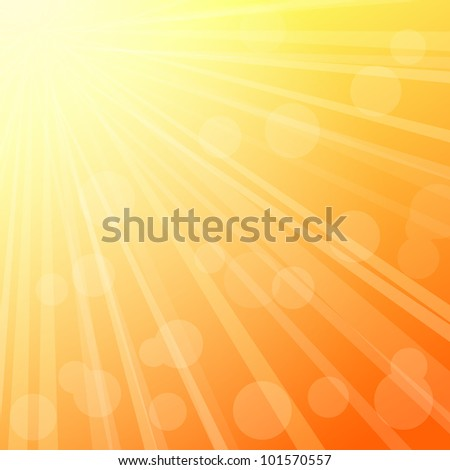 Yellow Green Blurred Sky Background with Rays of Sunlight. Vector Illustration