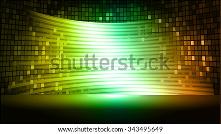 yellow green orange Abstract light lamps background for Technology computer graphic website internet and business.. Screen on stage. Vector illustration.Spot Effect. neon. point, platform, Spotlights