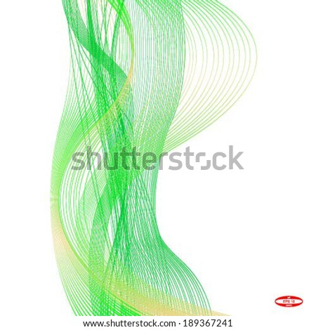 yellow green wave line on white background vector