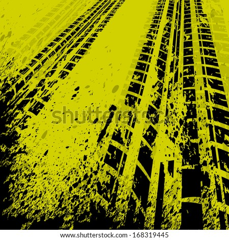 Yellow grunge background with black tire track. eps10 - stock vector