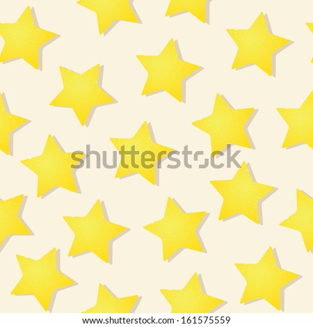 Yellow grungy stars seamless vector pattern on beige background - stock vector