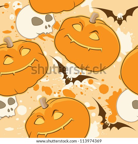 Yellow Halloween pattern with pumpkin and skull