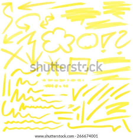 yellow hand drawn colored markings from a highlighter - stock vector