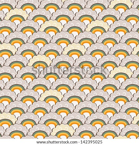 Yellow Hand-Drawn Rainbow and Clouds Doodle Background. Vector Illustration Pattern - stock vector