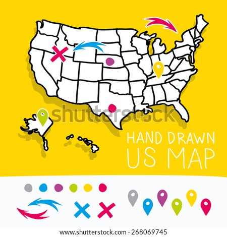 Yellow hand drawn US map whith map pins vector illustration - stock vector