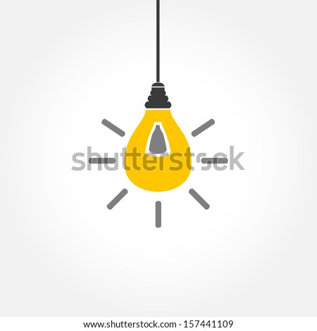 Yellow hanging light bulb on white background - stock vector