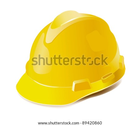 Yellow hard hat isolated on white - stock vector
