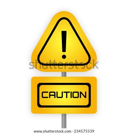 Yellow hazard warning attention sign. Vector illustration. - stock vector