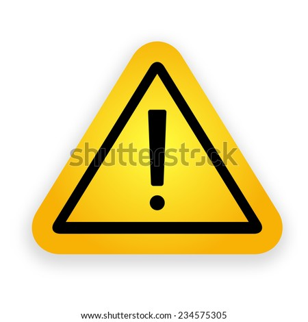 Yellow hazard warning attention signl. Vector illustration.