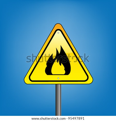 Yellow hazard warning sign on against blue sky - open flame warning, vector version - stock vector