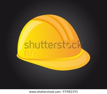 yellow helmet over black background. vector illustration - stock vector