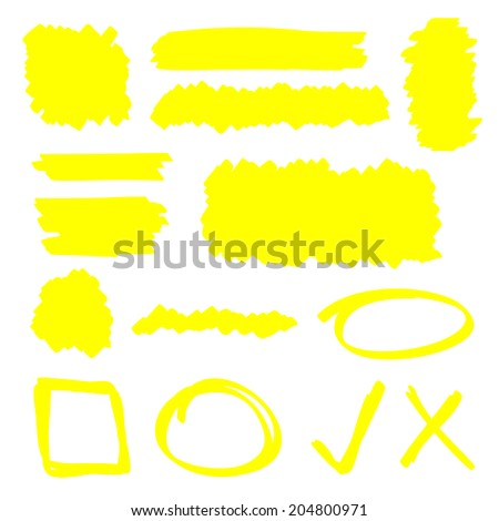 Yellow highlighter marker illustration set - stock vector