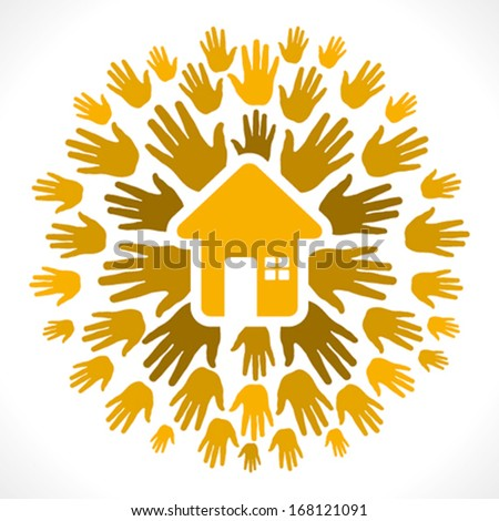 yellow home icon on yellow hand background vector - stock vector
