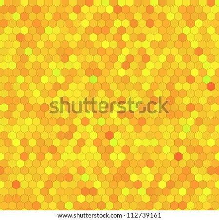 Yellow honeycomb hexagon vector background. Seamless pattern.