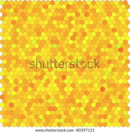 Yellow honeycomb hexagon vector background. Seamless pattern. - stock vector