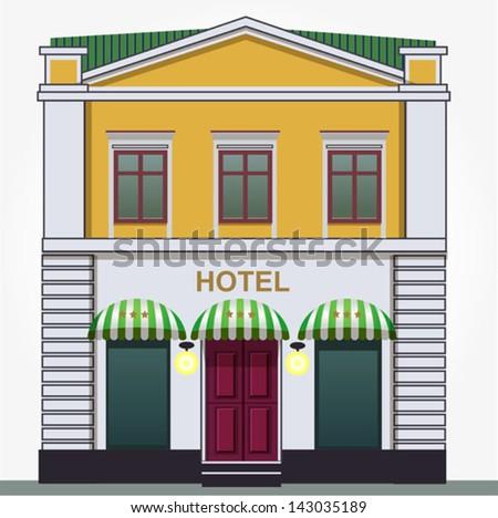 Yellow hotel - stock vector