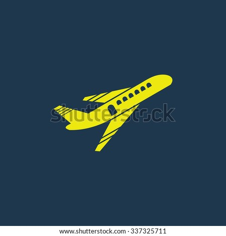 Yellow icon of Airplane Take Off on dark blue background. Eps.10 - stock vector