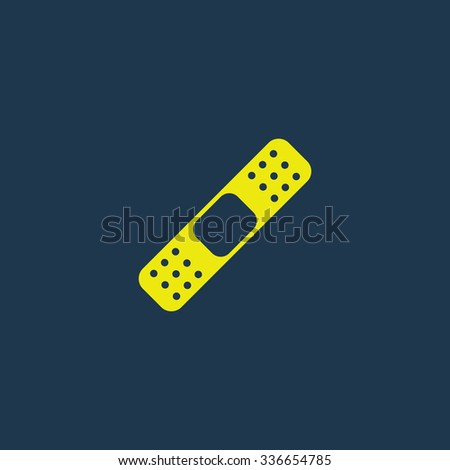 Yellow icon of Bandage on dark blue background. Eps.10 - stock vector