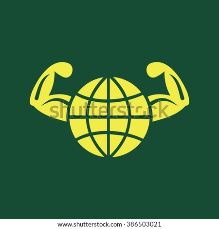 Yellow Icon of Healthy World or Globe & Hand  Isolated on Dark Green Background. Eps--10. - stock vector