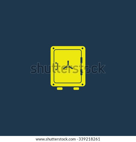 Yellow icon of Safe on dark blue background. Eps.10 - stock vector