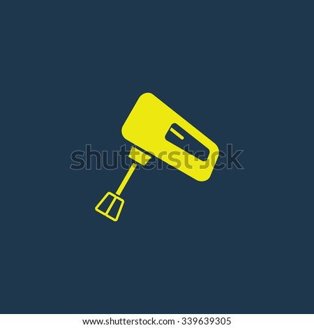 Yellow icon of Whisk on dark blue background. Eps.10