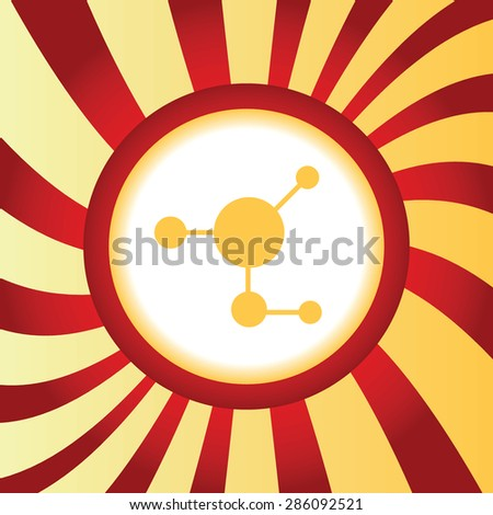 Yellow icon with image of molecule, in the middle of abstract background - stock vector