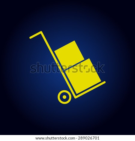 Yellow Icons set shipping and delivery on a blue background - stock vector