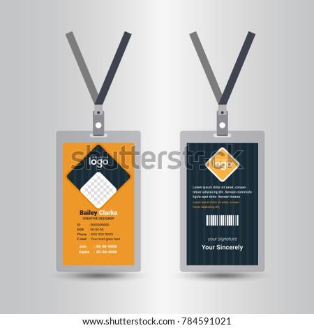 Yellow Id Card Design Template Stock Photo (Photo, Vector ...
