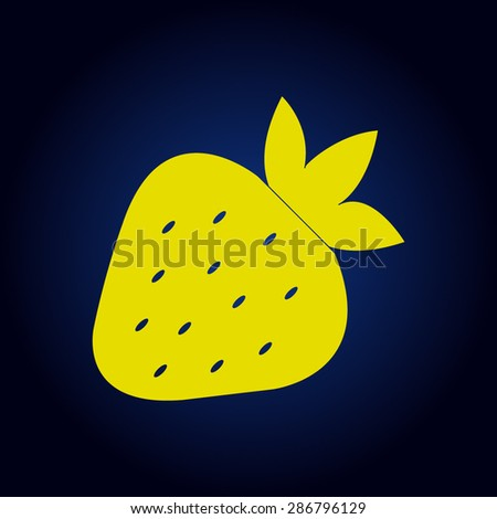 Yellow Illustration of Strawberries  on a blue background - stock vector