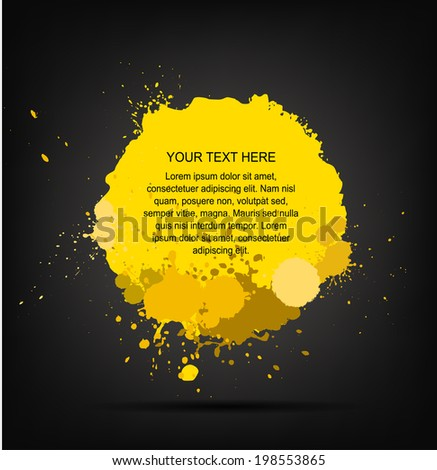 yellow Ink splats on dark background.  vector yellow ink splashes,each splash is grouped individually ,so you can modify it as you want.  - stock vector